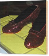 Ruby Slippers On The Yellow Brick Road Wood Print