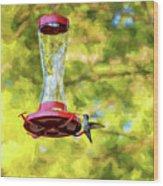 Ruby-throated Hummingbird 2 - Impasto Wood Print