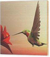 Ruby-throated Hummingbird - 3d Render Wood Print