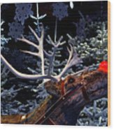 Rudolph With Your Nose So Bright Wood Print by Keenpress