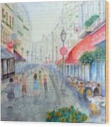 Rue Montorgueil Paris Right Bank Wood Print
