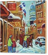 Rue St Paul Montreal Streetscene Cafes And Caleche Wood Print