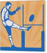 Rugby Goal Kick Wood Print
