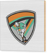 Rugby League Player Playing Ball Shield Retro Wood Print