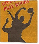 Rugby Player Jumping Catching Ball In Lineout Wood Print