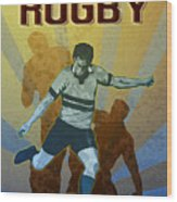 Rugby Player Kicking The Ball Wood Print