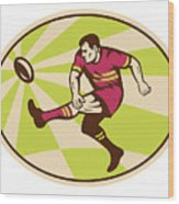 Rugby Player Kicking The Ball Retro Wood Print