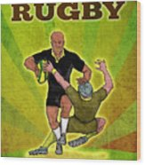 Rugby Player Running Attacking With Ball Wood Print