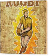Rugby Player Running Passing Ball Wood Print