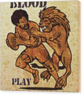 Rugby Player Running With Ball Attack By Lion Wood Print by Aloysius Patrimonio