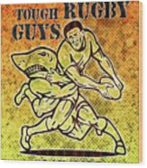 Rugby Player Running With Ball Attack By Shark Wood Print
