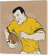 Rugby Player Runningwith The Ball Wood Print by Aloysius Patrimonio