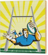 Rugby Player Scoring Try Retro Wood Print
