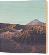 Rugged Mountainous Terrain Mount Bromo At Sunrise Wood Print