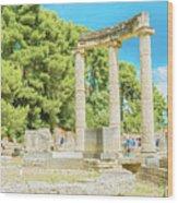 Ruin Of Philipp's Temple In Olympia, Greece Wood Print