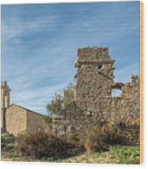 Ruined Building And Restored Church At Occi In Corsica Wood Print