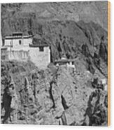 Ruins And Basgo Monastery Surrounded With Stones And Rocks Ladakh Wood Print