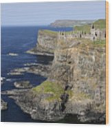 Ruins Of Dunluce Castle On The Sea Cliffs Of Northern Ireland Wood Print