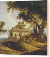 Ruins Of The Naurattan Wood Print by Thomas Daniell