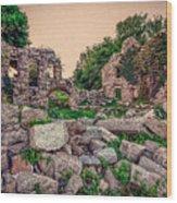 Ruins Of White's Factory - Fallen Blocks Wood Print
