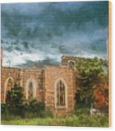Ruins Under Stormy Clouds Wood Print