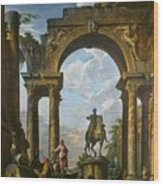 Ruins With The Statue Of Marcus Aurelius Giovanni Paolo Panini Wood Print