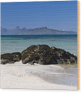 Rum And Eigg From Achateny Beach Wood Print