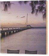 Rum Point Beach Chairs At Dusk Wood Print