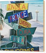 Rum Point Signs Grand Cayman Islands Wood Print