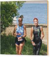 Runners At The 24 Hours Of Triathlon Wood Print