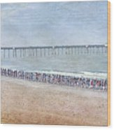 Runners On The Beach Panorama Wood Print