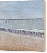 Runners On The Beach Panorama Wood Print