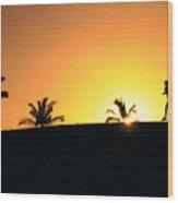 Running At Sunset Wood Print