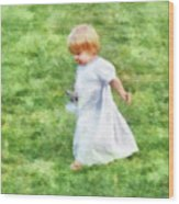 Running Barefoot In The Grass Wood Print
