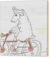 Running Cyclist Cheep Wood Print