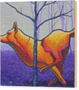 Running Free Red Wolf Wood Print