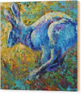 Running Hare Wood Print