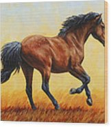 Running Horse - Evening Fire Wood Print by Crista Forest
