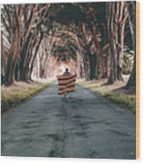 Running In The Forest Wood Print