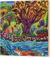 Running River, Running Fox Wood Print