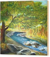 Running Waters Wood Print