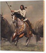 Running With Buffalo Wood Print by Daniel Eskridge
