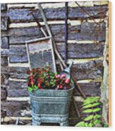 Rural American Graden Scene Wood Print by Linda Phelps