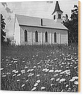 Rural Church In Field Of Daisies Wood Print