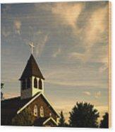 Rural Church Wood Print