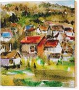 Rural City Wood Print