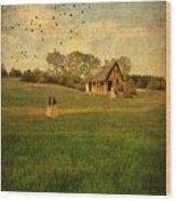 Rural Cottage Wood Print by Jill Battaglia