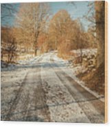 Rural Country Road Wood Print