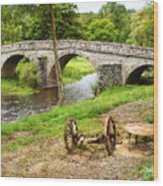 Rural France With Old Stone Arched Bridge Wood Print