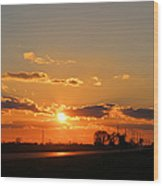 Rural Il Sunset Reflections Wood Print
